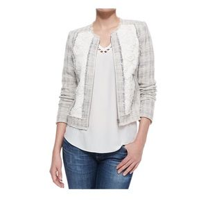 REBECCA TAYLOR White Rawedged Lace Tweed Jacket
